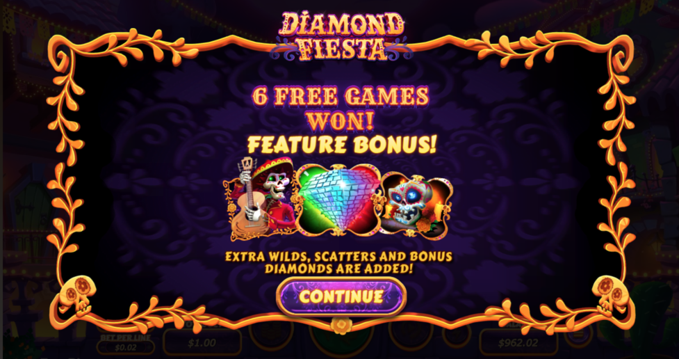diamond fiesta slot free spins