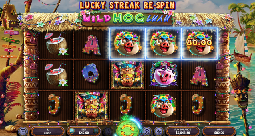 wild hog luau slot gameplay